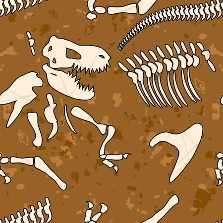 fossil: Fossil dinosaur seamless pattern. Bones of Tyrannosaurus vector background. Ancient animal predator Mesozoic period. Ornament of archaeological excavations. Prehistoric monster
