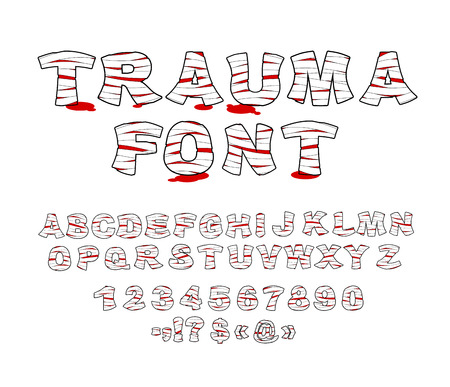 traumatized: Trauma font. Crippled letters wrapped medical bandages. Traumatized Letters and numbers. Treatment of  alphabet. Patient blood Font