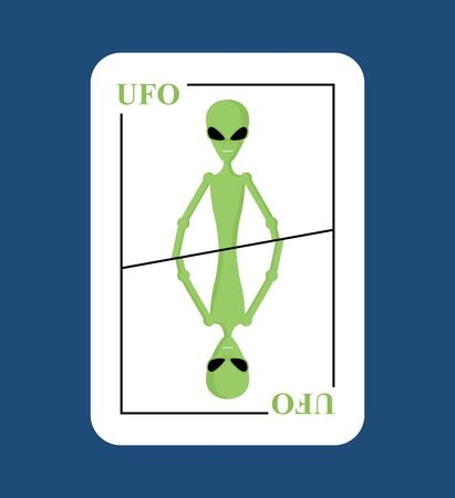 invader: Playing card UFO. Conceptual new card alien. Green space invader with big eyes. Picks up into space in game all  characters.