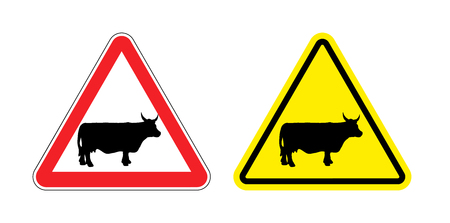 herding: Warning sign attention cow. Hazard yellow sign herding. Silhouette mammal animal with horns on red triangle. Set Road signs.