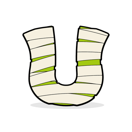 egyptian mummy: Letter U Monster zombie. Alphabetical icon medical bandages. Egyptian concept of template elements ABC. Mummy ABC icon