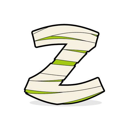 mummified: Letter Z Egyptian zombies. Mummy ABC icon coiled medical bandages. Monster template elements alphabet. Scary concept type as logo. Illustration