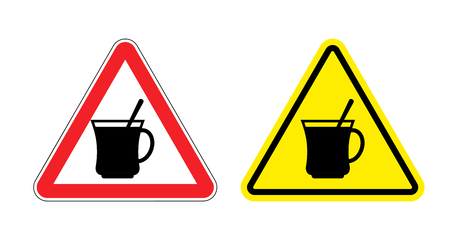 yellow attention: Warning sign attention hot coffee. Hazard yellow sign of drinking tea. Silhouette mug with drink on  red triangle. Set Road signs.