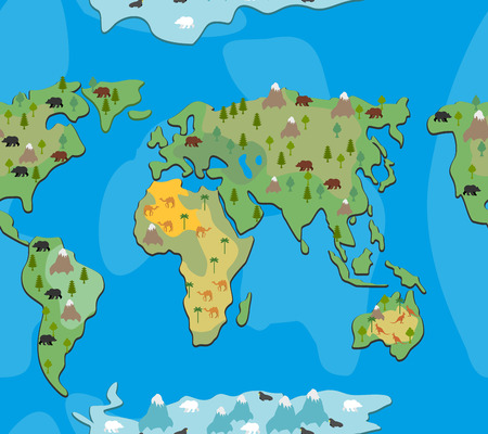 geographical: World map with  animals and trees seamless pattern. Background of  geographical Atlas of   flora and fauna. Endless ornament for baby cloth of  continents of  planet Earth. Illustration