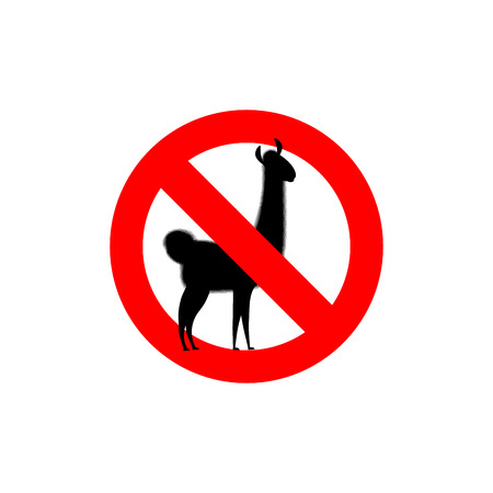 alpaca animal: Stop Lama. Alpaca Lama is forbidden. Frozen wild animal. Red forbidden sign.
