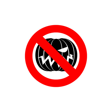 no: Stop Halloween. It is forbidden to celebrate the dreaded holiday. Frozen pumpkin. Red forbidden sign. Ban Terrible vegetables.