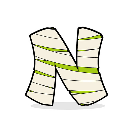 egyptian mummy: Letter N Monster zombie. Alphabetical icon medical bandages. Egyptian concept of template elements ABC. Mummy ABC icon Illustration