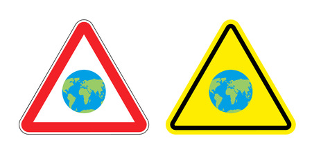 yellow earth: Warning sign attention to Earth. Yellow danger world map. Set Road signs.