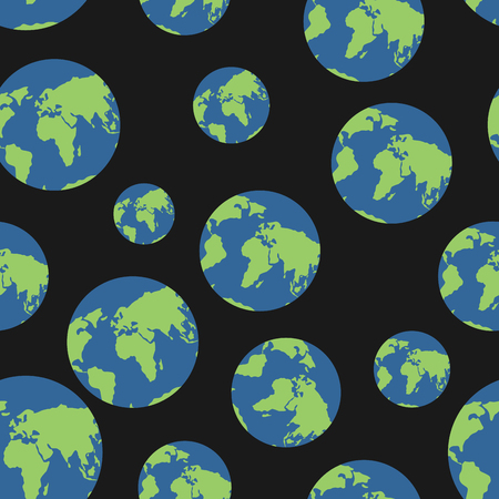 geography background: Globe seamless pattern. Globes of earth background. Planets o  black background. Ornament of  heavenly bodies. satin ornament endless. World map geography