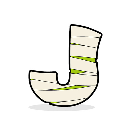 egyptian mummy: Letter J Mummy. Typography icon in bandages. Horrible Egyptian elements template zombies alphabet. ABC concept type as logotype.