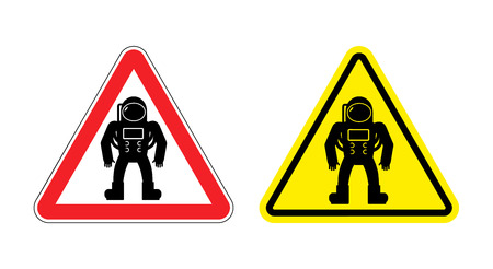 space suit: Warning sign astronaut. Hazard yellow sign cosmic man. Silhouette astronaut in space suit with red triangle. Set  Road signs.
