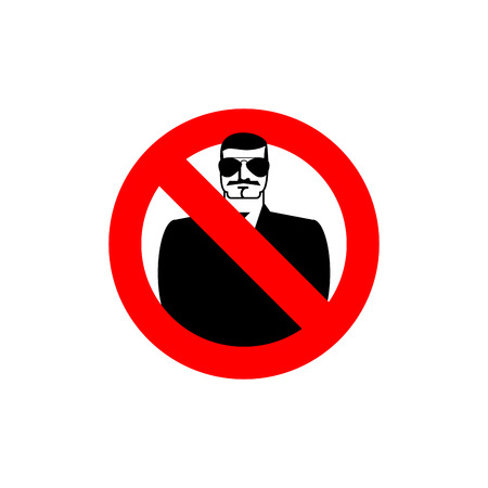 restrictive: Stop spy. Forbidden secret agent. Frozen man in sunglasses. Red forbidden sign. Ban Scout