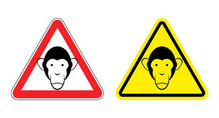 chimp: Warning sign attention monkey. Hazard yellow sign head monkeys. Silhouette Chimp ball on  red triangle. Set Road signs. Illustration