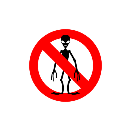 humanoid: Stop alien. Forbidden space invaders. Frozen silhouette humanoid. Emblem against space invaders. Red forbidding character. Ban gumanoidam.
