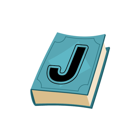 bookish: Letter J on cover of retro books. Concept of template elements alphabet Vectores