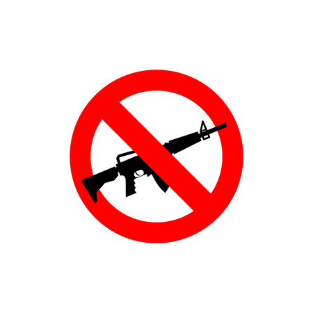 emblem red: Stop machine gun. It is forbidden to shoot. Frozen silhouette military accessory. Against war emblem. Red forbidding character. Ban army M16