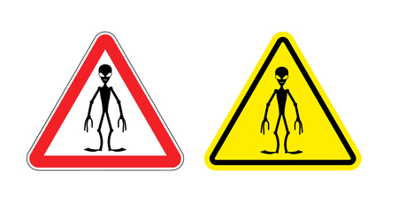 street signs: Warning sign of attention aliens. Hazard yellow sign space invaders. Silhouette of  humanoid with  red triangle. Set  Road signs.