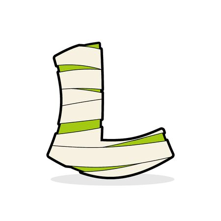 egyptian mummy: Letter L Egyptian zombies. Mummy ABC icon coiled medical bandages. Monster template elements alphabet. Scary concept type as logo. Illustration