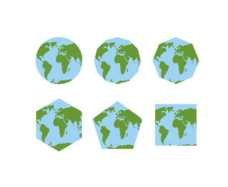 icosahedron: Set of geometric shapes of world atlases. Map of planet earth . Earth is round. Pentagon with continents. Hexagon planet earth. World square ground