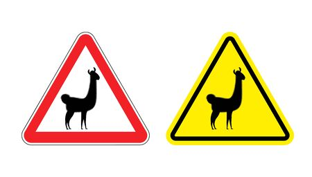 llama: Warning sign attention Lama. Hazard yellow sign wild animal. Alpaca llama on a red triangle. Set  Road signs Illustration