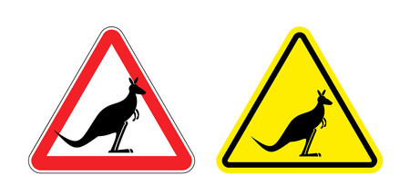 red kangaroo: Warning sign of attention Kangaroo. Hazard yellow sign jumping marsupials. Silhouette Australian beast on red triangle. Set  Road signs.