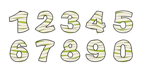 미라의 수. 붕대에 타이 포 그래피 아이콘입니다. 끔찍한 이집트 요소 번호 서식 파일 좀비 알파벳입니다. 로고 타입으로 ABC 개념 유형.