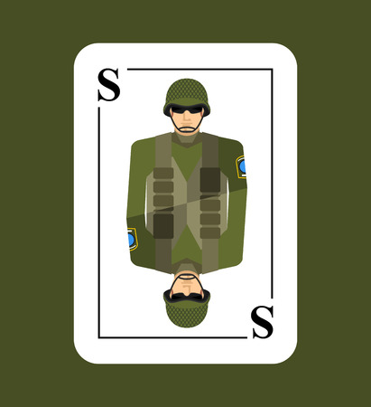 flak: Playing card soldiers. Conceptual new card military man. Takes in game all  characters.  Armed forces, in helmet and flak vest.