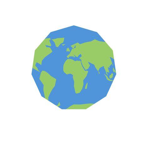 simplified: Polygonal world map. Unusual earth. Atlas of world Illustration