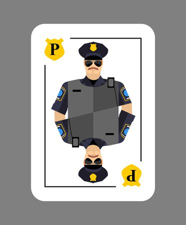 arrests: Playing card policeman. Conceptual new card  police officer. Arrests in game all characters.