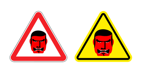 villain: Warning sign of attention an evil boss. Danger sign yellow head. Head villain on red triangle. Set Road signs. Illustration
