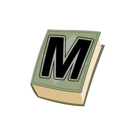 book background: Letter M on  cover of retro books. Concept of template elements alphabet