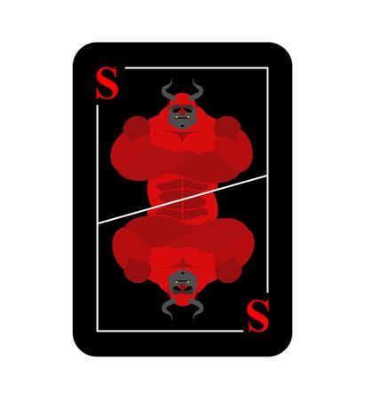 satanas: Jugar a las cartas Satanás. Conceptual nuevo diablo tarjeta. Temido demonio con cuernos rojos. Durante el juego recoge en el infierno todos los caracteres.