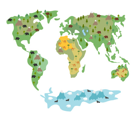 Map of  world with animals and trees. Geographic map of  globe with flora and fauna. Conditional cartoon kids map with bears and kangaroos. World map with Continents of  Earth. Atlas continents and oceans. Existence of Seal and polar bear Illustration