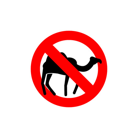 single entry: Stop camel. Prohibited animal of  desert. Red forbidding character.  Ban silhouette animal