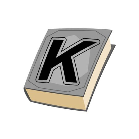 letter k: Letter K and on cover of book. Old Edition with alphabetical icon. Concept of template elements ABC