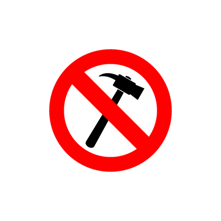 hammers: Stop hammer. It is forbidden to knock. Frozen silhouette construction sledgehammer. Emblem against construction noise. Red forbidding character. Ban loud work
