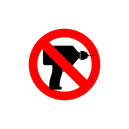 observance: Stop  drill. It is forbidden to drill. Red forbidding character. Logo for observance of silence. Frozen tool. Ban loud sound punch Illustration