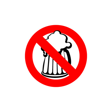 Stop beer. Forbidden alcohol. Frozen silhouette mugs with beer and foam. Emblem antialcoholic company. Red forbidding character. Ban foam drink