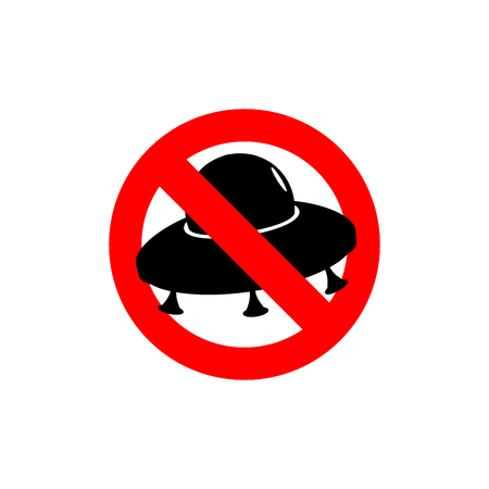 Stop UFO. Prohibited from flying saucer. Frozen silhouette spaceship of aliens. Emblem space invaders. Red forbidding character. Ban aliens. Illustration