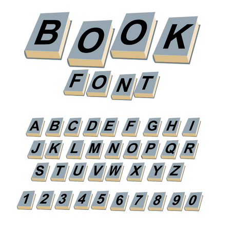 alphabetic: Font book. Alphabet on covers of books.  ABCs of log on vintage hardcover books. Old books with letters. Set of alphabetic characters and digits creative for  text.
