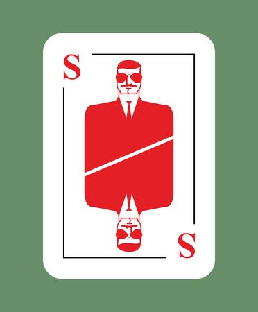 secret identities: Playing card security. Conceptual new card suit. Secret agent in glasses. Protects another playing card Illustration