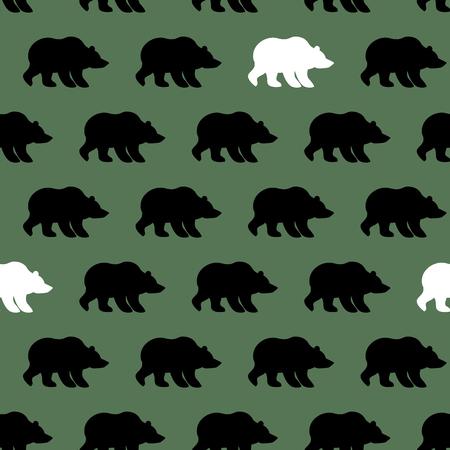 シロクマとグリズリーのシームレスなパターン。野生動物の背景