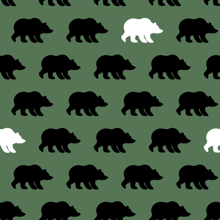 White Bear and Grizzly seamless pattern. Background of wild animals
