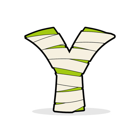 egyptian mummy: Letter Y Monster zombie. Mummy ABC icon. Alphabetical icon medical bandages. Egyptian concept of template elements ABC. Illustration