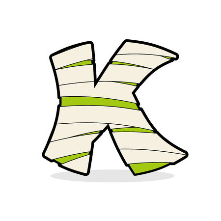 egyptian mummy: Letter K Monster zombie. Mummy ABC icon. Alphabetical icon medical bandages.  Egyptian concept of template elements ABC. Illustration