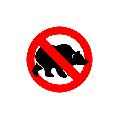 forbidding: Stop bear. Banned wild animal. Animal silhouette frozen Alaska. Emblem against a wild scary beast. Red forbidding character. Ban forest predator Grizzly