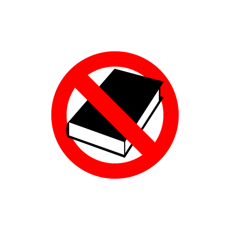 banned: Stop  book. It is forbidden to read. Frozen silhouette books in cover. Logo educations. Red forbidding character. Ban available information