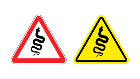 관심 독이있는 뱀의 경고 기호. 노란색 기호 파충류 위험이 있음. 빨간색 삼각형의 코브라의 실루엣입니다. 설정 도로 표지판 일러스트
