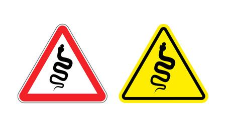 serpiente cobra: Se�al de peligro de la atenci�n serpiente venenosa. Hazard reptiles signo amarillo. Silueta de la cobra en el tri�ngulo rojo. Signos Conjunto de Carreteras Vectores
