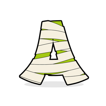 egyptian mummy: Letter A Mummy. Typography icon in bandages. Egyptian zombie template elements alphabet. ABC concept type as logotype. Illustration